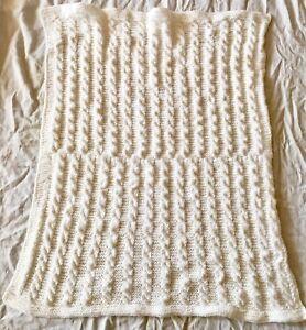 White vintage style crochet christening baptism baby blanket