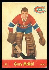 1955 56 PARKHURST HOCKEY #52 GERRY McNEIL VG MONTREAL CANADIENS CARD