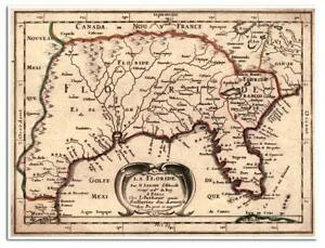 Details about La Florida Elegant Map of SOUTHERN USA - Mexico to Virginia  circa 1657 18x24