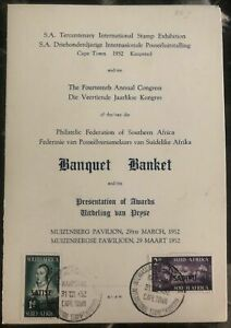1952-Capetown-South-Africa-Invitation-Cover-14th-Anual-Philatelic-Congress-Banqu