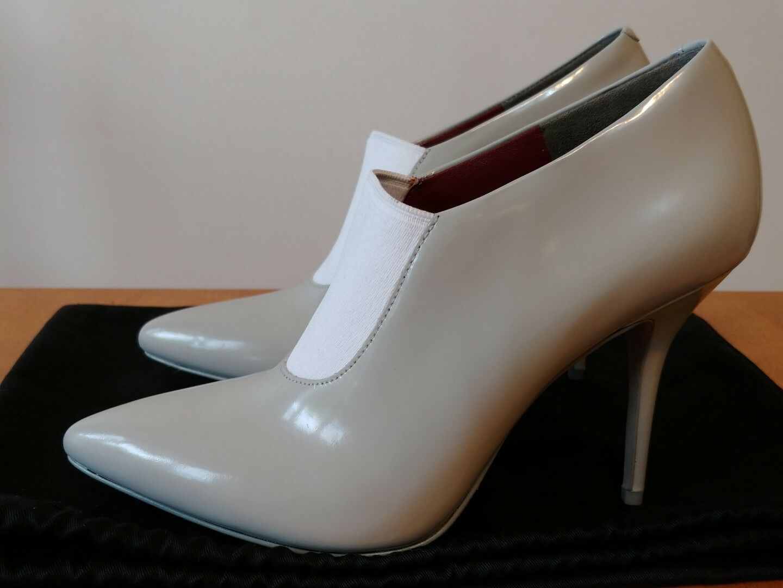 Alexander Wang Grey Pelle Natasha High Heel Ankle Pump Bootie NEW Size 37  650