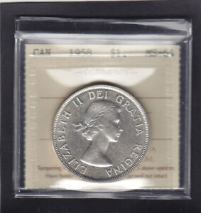 1958-CANADA-SILVER-1-ICCS-GRADED-MINT-STATE-64-Great-Coin