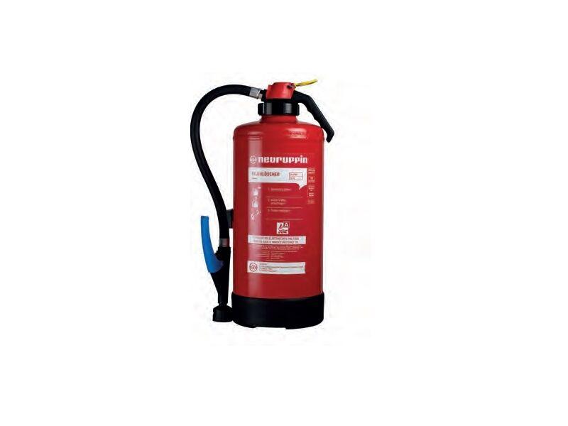 Auflade-Feuerlöscher 9Liter Wasser WA9 F-500 Neuruppin, Kunstoff Gummi Batterie
