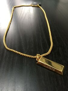 Supreme necklace gold bar pendant chain bling hip hop iced out uk la imagen se est cargando barra de oro supremo collar colgante cadena bling aloadofball