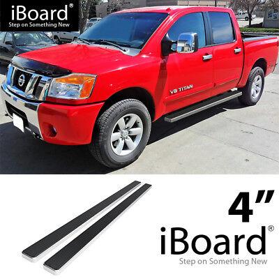"Premium 4/"" Black iBoard Side Steps Fit 04-20 Nissan Titan Crew Cab"