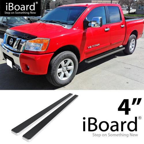 Running Board Side Step Nerf 4in Silver Fit Nissan Titan Armada Crew Cab 04-19