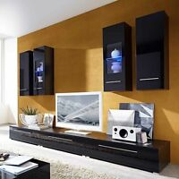 Coolio Living Room Furniture Set 1 In Black High Gloss