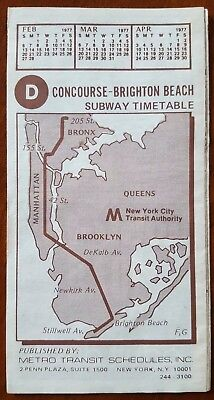 Brighton Beach On Subway Map.D Train Concourse Brighton Beach Subway Timetable 1977 Ebay