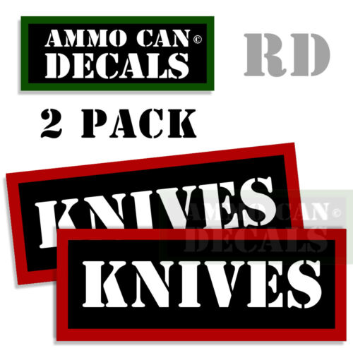 KNIVES Ammo Can Labels Ammunition Stickers Ammo Can Decals 2 pack RED 3x1.15
