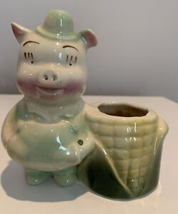 Vintage Shawnee Art Pottery Pig Farmer With Corn Cob Husk Planter, Hand Painted
