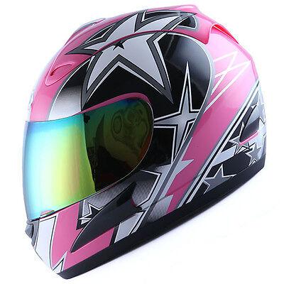 NEW Motorcycle Street Bike Adult Full Face Helmet Lady Star Pink S M L XL