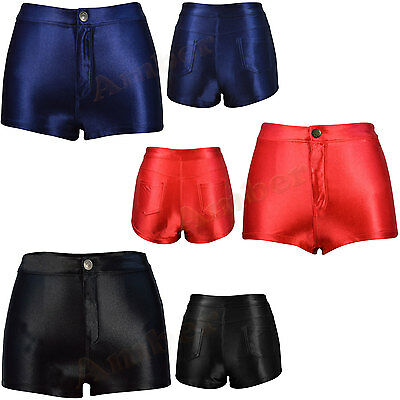 High Waisted Girls Shiny Stretch Disco Shorts Fashion Apparel Hot Pants Size6-14