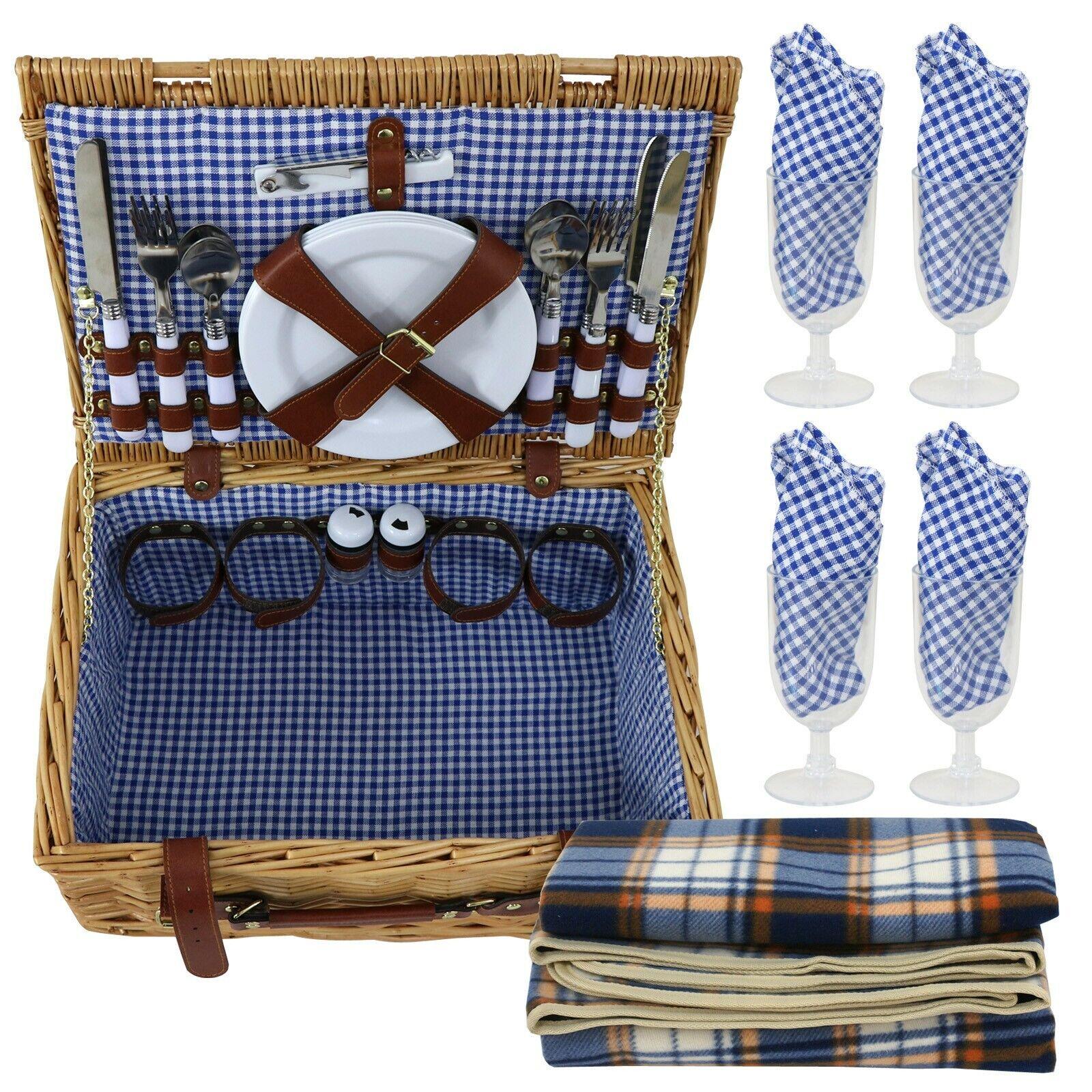 Gran cesta de Picnic Campamento Familia De Jugara Vintage 4 persona Mimbre Set W cutlery