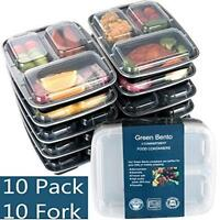 [10 Pack]3 Compartment Meal Prep Food Storage Containers With Lids/Bpa Fr Quick