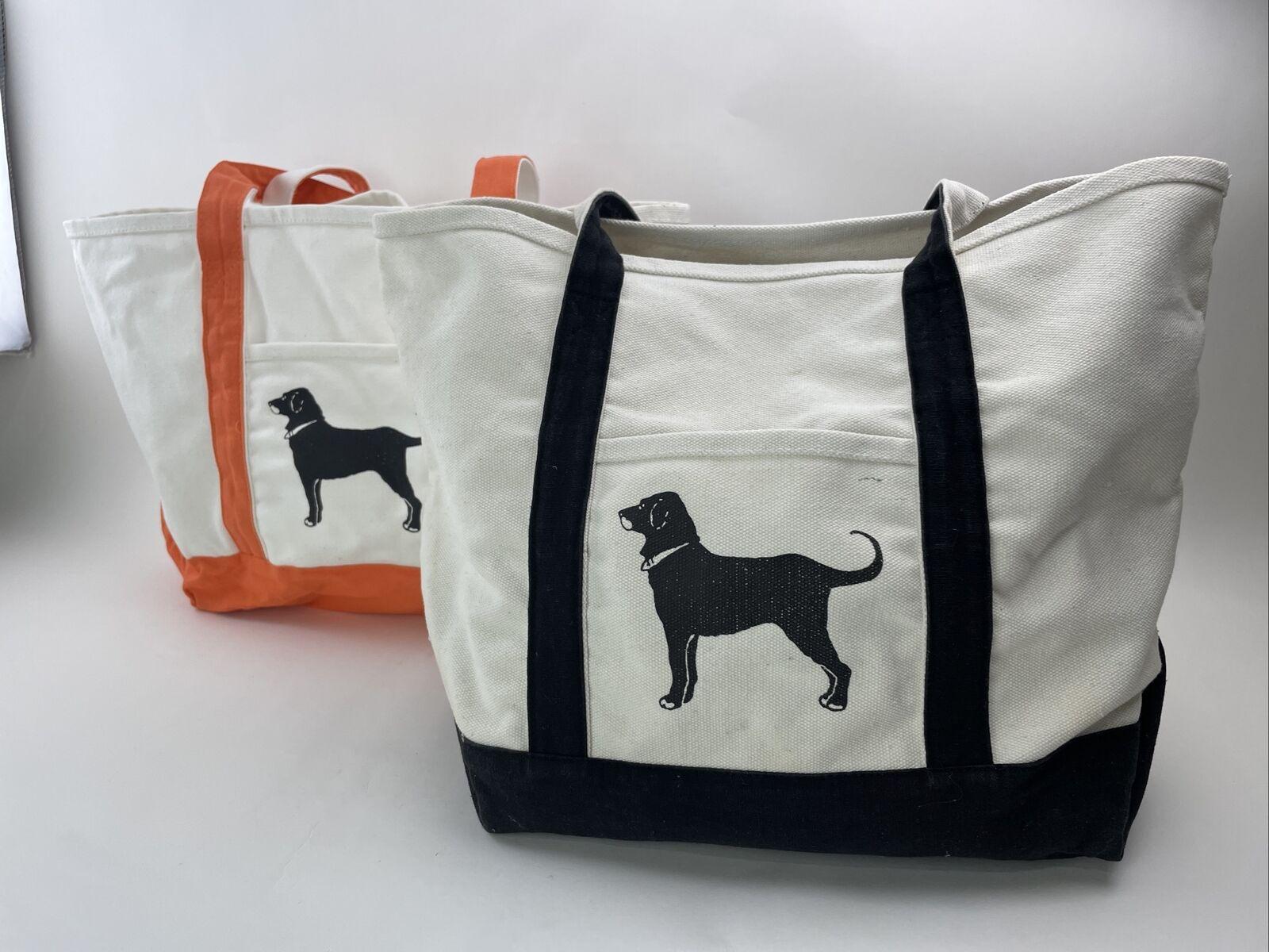 The Black Dog Marthas Vineyard Canvas Tote Bag Blck Orange Trim Handles Lot of 2