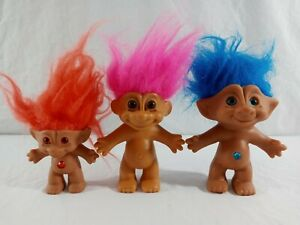 Vintage-1990-039-s-Russ-Ace-Novelty-Pink-Blue-Orange-Haired-Jeweled-Troll-Dolls-Lot