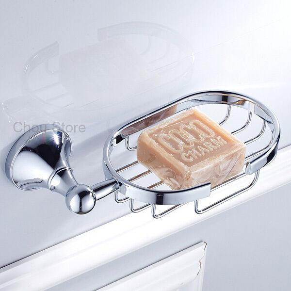 Wall Mount Bathroom Bath Shower Soap Holder Dish Basket Tray Chrome Brass Finish