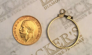 22k Solid Gold King George V Gold Sovereign Coin Dome Bezel pendant p1047 ns