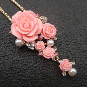 Betsey-Johnson-Pink-Resin-Crystal-Rose-Flower-Pendant-Long-Necklace-Brooch
