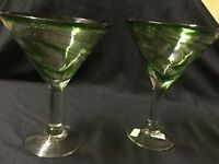 Martini Swirl Glasses, Mexican Glass, Hand Blown, Set Of 2, Free Shipping