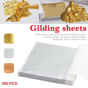 100-Sheets-Gold-Sliver-Copper-Leaf-Leaves-Foil-Paper-Edible-Gilding-Craft-Decor