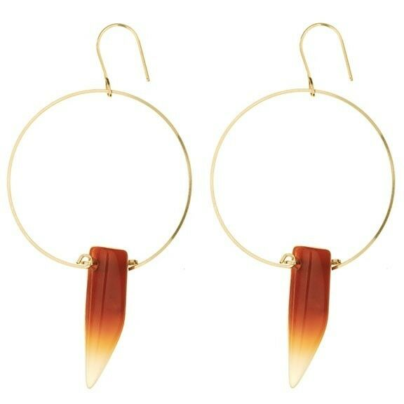 By Boe Bright Wisdom Earrings Jewelry Carnelian Horn Shaped Glass Bead.
