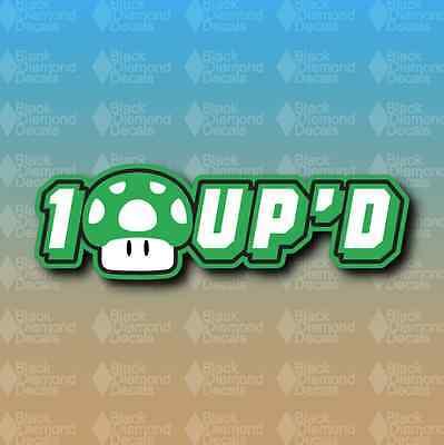 "One Up 1 Up Mario Life Nintendo Nerd 7"" Snowboard Custom Vinyl Decal Sticker"