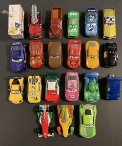 Lote-de-21-Disney-Pixar-Cars-Diecast-mas-grande-1-43-McQueen-Racers-Rojo-Dinoco