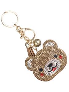 BLESSED RHINESTONE CHURCH CRYSTAL ID TAG Key Chain Rings Handbag Charm BLING