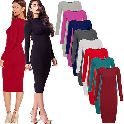 Womens stretchy long sleeves midi dress One size UK 10//12