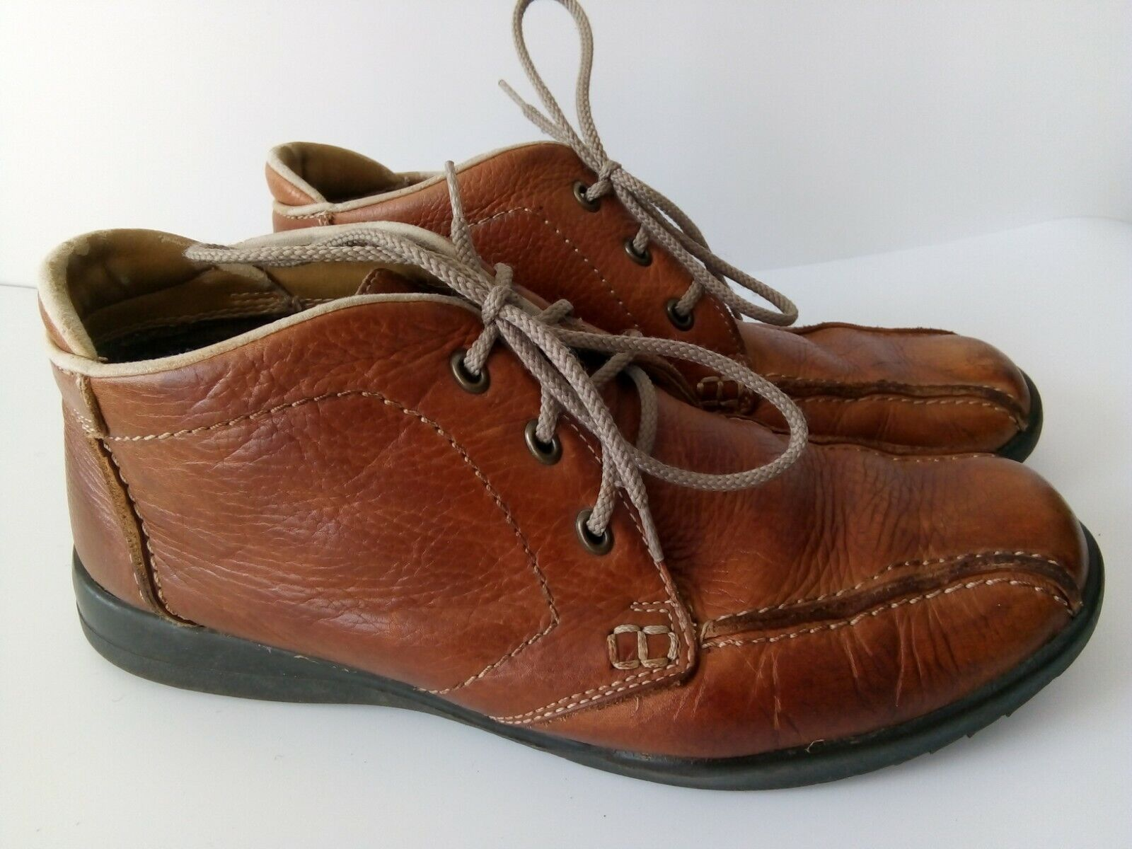 Clark`s Brown Leather Shoes Men`s Size-8.5 Used Comfort Casual
