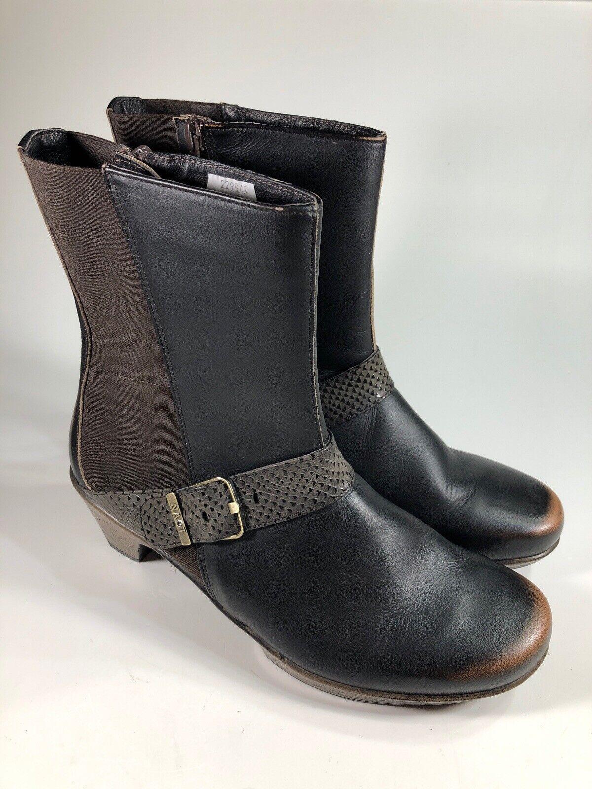 NAOT Nearly nuovo  225 Marronee Leather Buckle Slip On stivali donna Dimensione 9 M EU40
