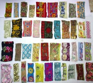 VERY-RARE-LOT-Antique-Vintage-Sari-TRIM-LACE-RIBBON-30-Pcs-EMBROIDERED-CRAFT