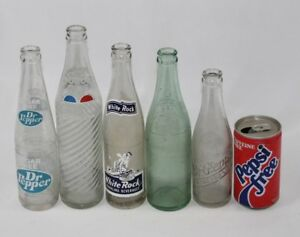 Lot of 6 Vintage Soda Pop Glass Bottles & Can - Dr. Pepper, Double / RC Cola,