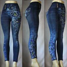Fashion Jeggings Jeans Look Printed Leggings Women's Pants Stretchy Skinny Slim