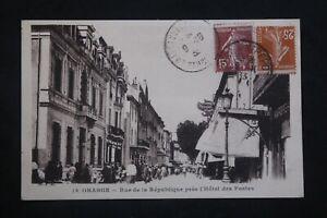 Postcard-Antique-1933-Orange-street-Of-La-Republic-Near-Hotel-Of-Posts