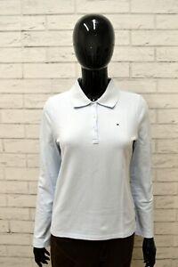 Polo-Maglia-Donna-TOMMY-HILFIGER-Taglia-Size-XS-Camicia-Shirt-Woman-Blu-Celeste