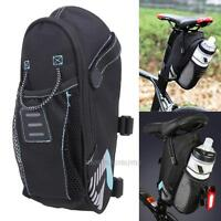 Bicycle Saddle Bag With Water Bottle Pocket Bike Rear Bags Seat Tail Bag on sale