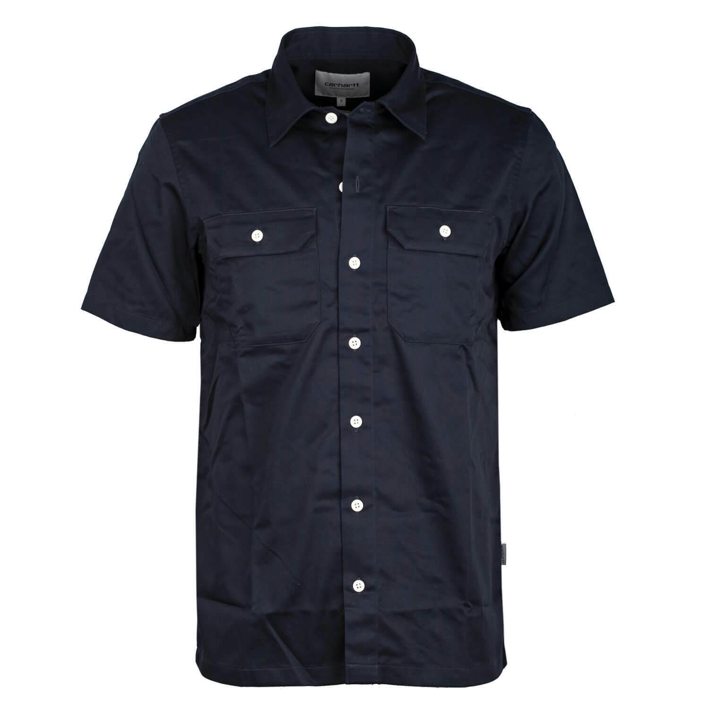 Carhartt WIP Hemd Master Shirt navy - Kurzarm Hemd mit Knopfleiste | Verrückte Preis