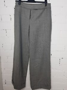 BNWT NEXT office GREY charcoal Wide leg cotton linen  smart work trousers TALL