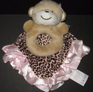CARTERS SECURITY BLANKET BEAR WHITE W// FLOWERS RATTLE POLY-SATIN RUFFLE GIRL NEW