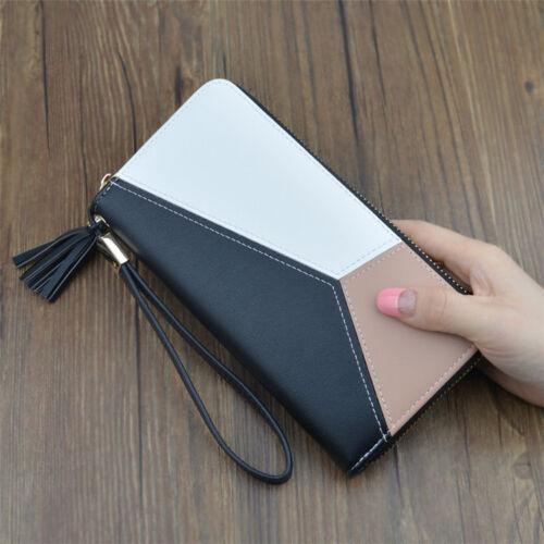 New Fashion Ladies Long Purse geometric Coloured splicing zipper woman wallet UK