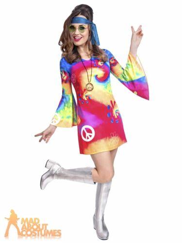 Adult Ladies 1960s 70s Tie Dye Hippy Costume Groovy Hippie Fancy Dress Outfit