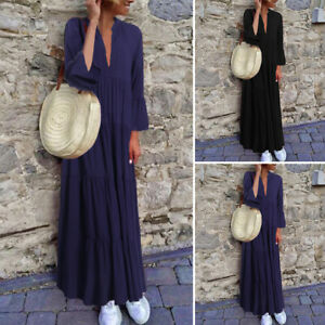 Mode-Femme-Manche-Longue-a-volants-Col-V-Couture-Couleur-Unie-Loisir-Maxi-Plus
