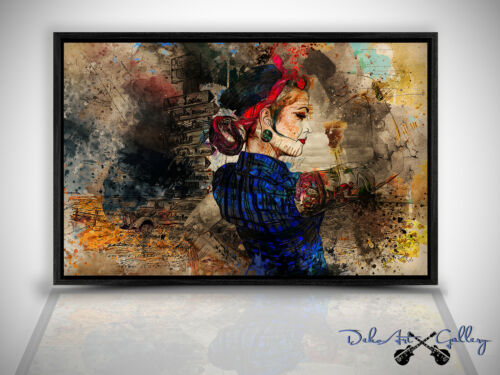 Wandbild Leinwand Bild Pin-Up Tattoo Girl in Schattenfugenrahmen W0354