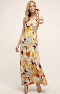 4d8610ccaaf4 NEW Harlyn ivory orange Floral Sheer Ruffled Bought at Anthropologie ...