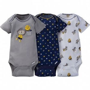 1c97b473e Gerber Baby Boys 3 Pack Onesies NEW Size 0-3 Month Monkey Sports ...