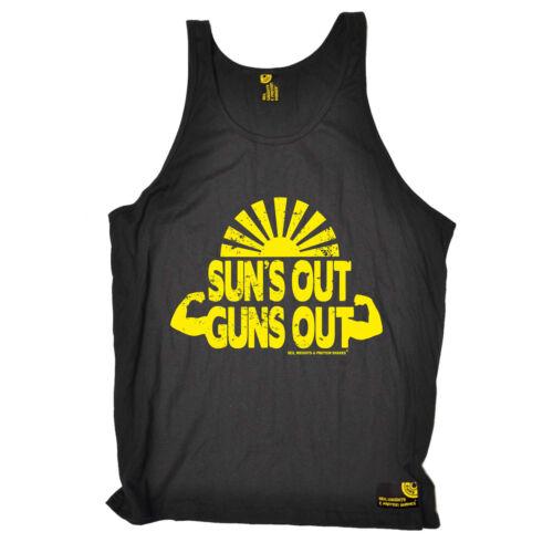 Suns Out Guns Out Gym bodybuilding training funny BirthdayáBELLA VEST SINGLET