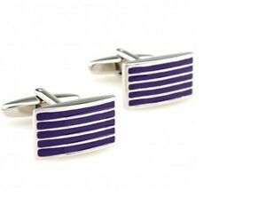 Frederick Thomas purple and silver coloured striped rectangular cufflinks FT2843