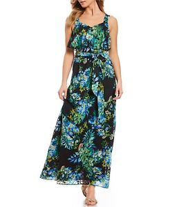 Adrianna-Papell-Black-Multi-Tropical-Printed-Maxi-Dress-Size-14